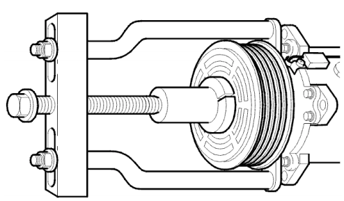 Install a new pulley. Use puller 999 5598 and socket 999 5600