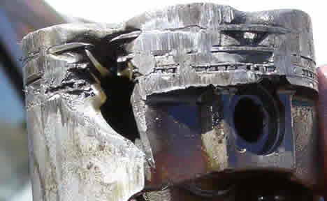 Melted Piston on Diesel Engine Piston Melting