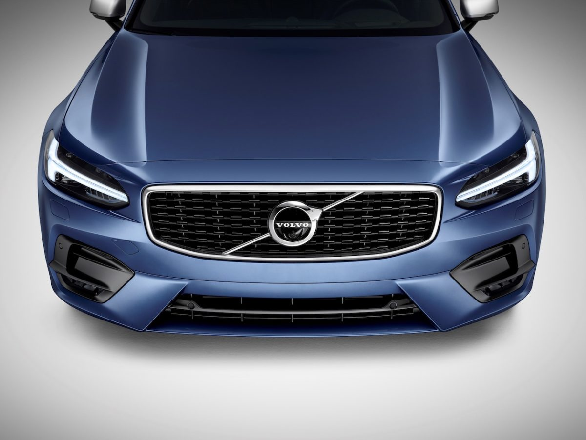 2017 Volvo V90 in Bursting Blue Metallic (+$595) front -- grille, Thor's Hammer headlights, hood