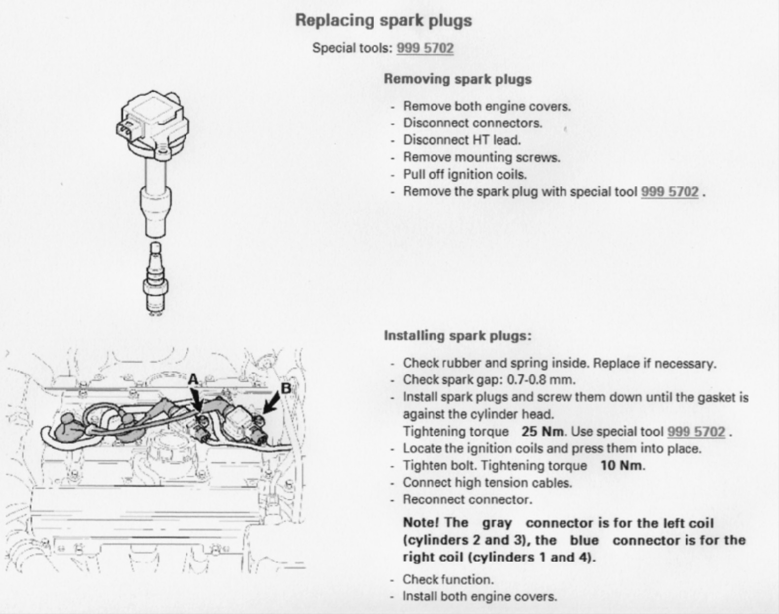 S40 and V40 1995–2004 diagram and steps on how to change the spark plugs. There are 4 spark plugs in this first generation.