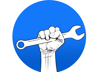 MVS logo, fist with wrench