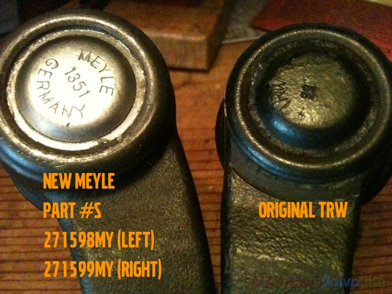 outer tie rods replacement Meyle #271598MY and #271599MY
