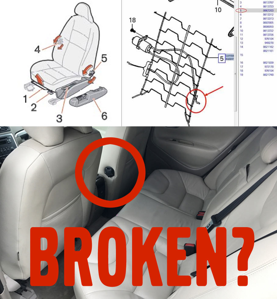 "MVS member hu5ker555 shows us how to fix the lumbar support on a Volvo S60  seat. ""Surprisingly, I was able to fix it without removing the seat..."""