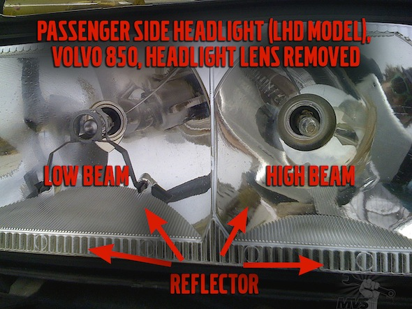 Volvo 850 Headlight Disassembly Photo
