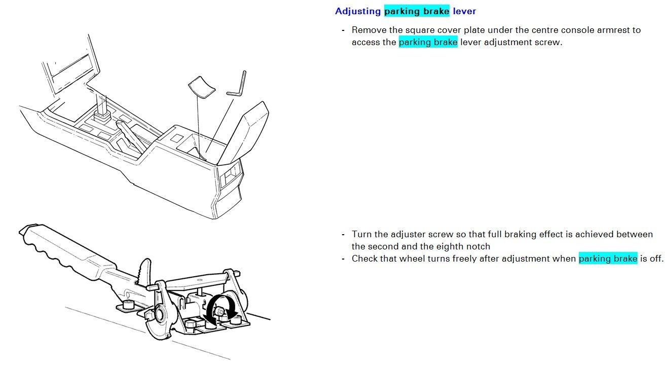 Parking Brake Cable Adjustment -
